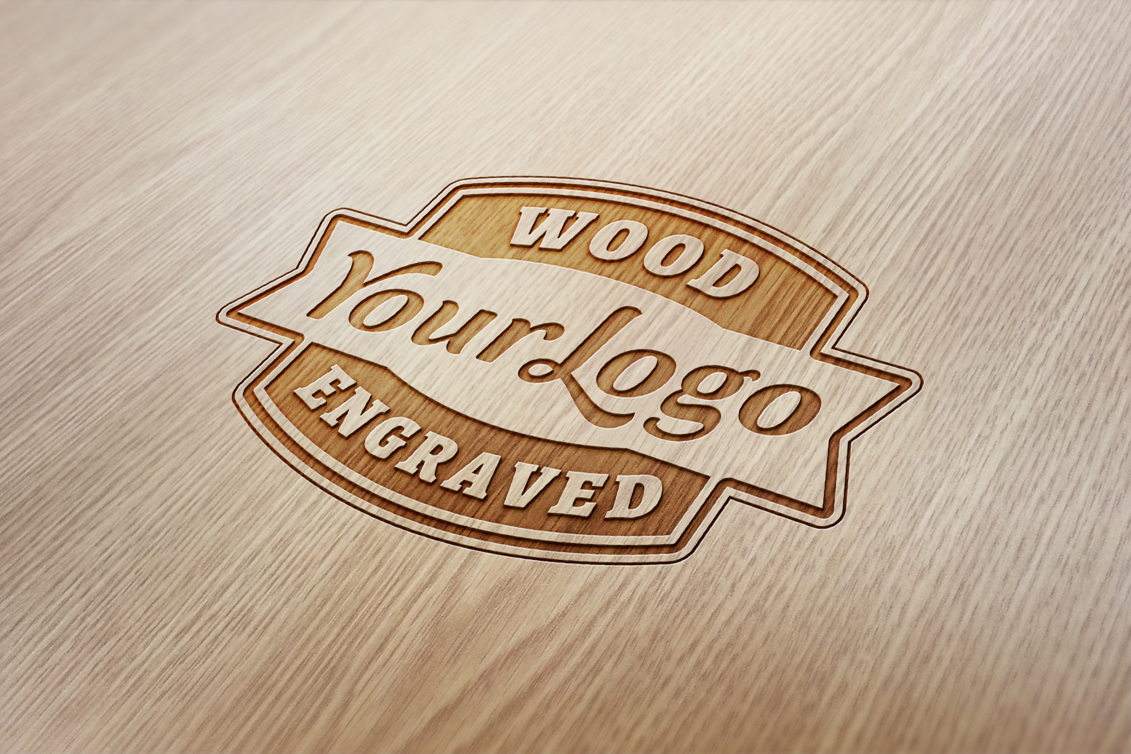 Wood Engraved Logo Mockup Graphicburger