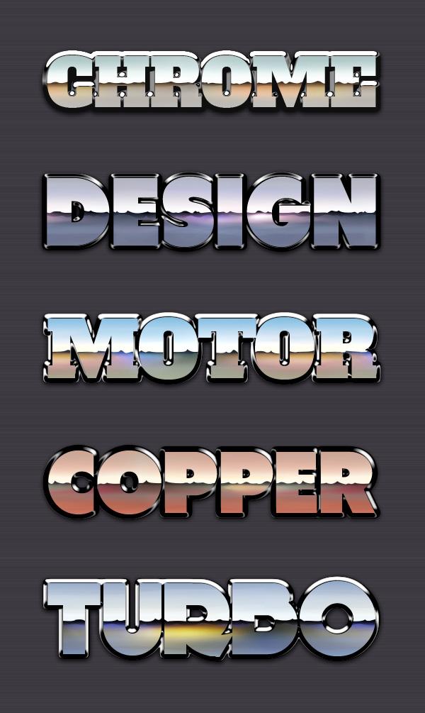 chrome reflection text styles vol 1