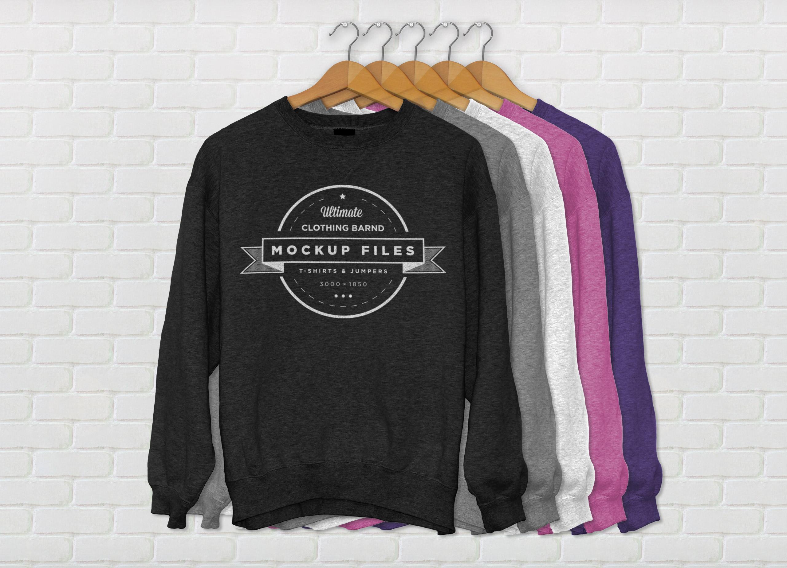 Crewneck Template | Crew Neck Sweater Template Psd Sweater Grey