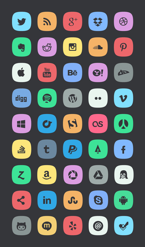 45 Subtle Social Media Icons Graphicburger