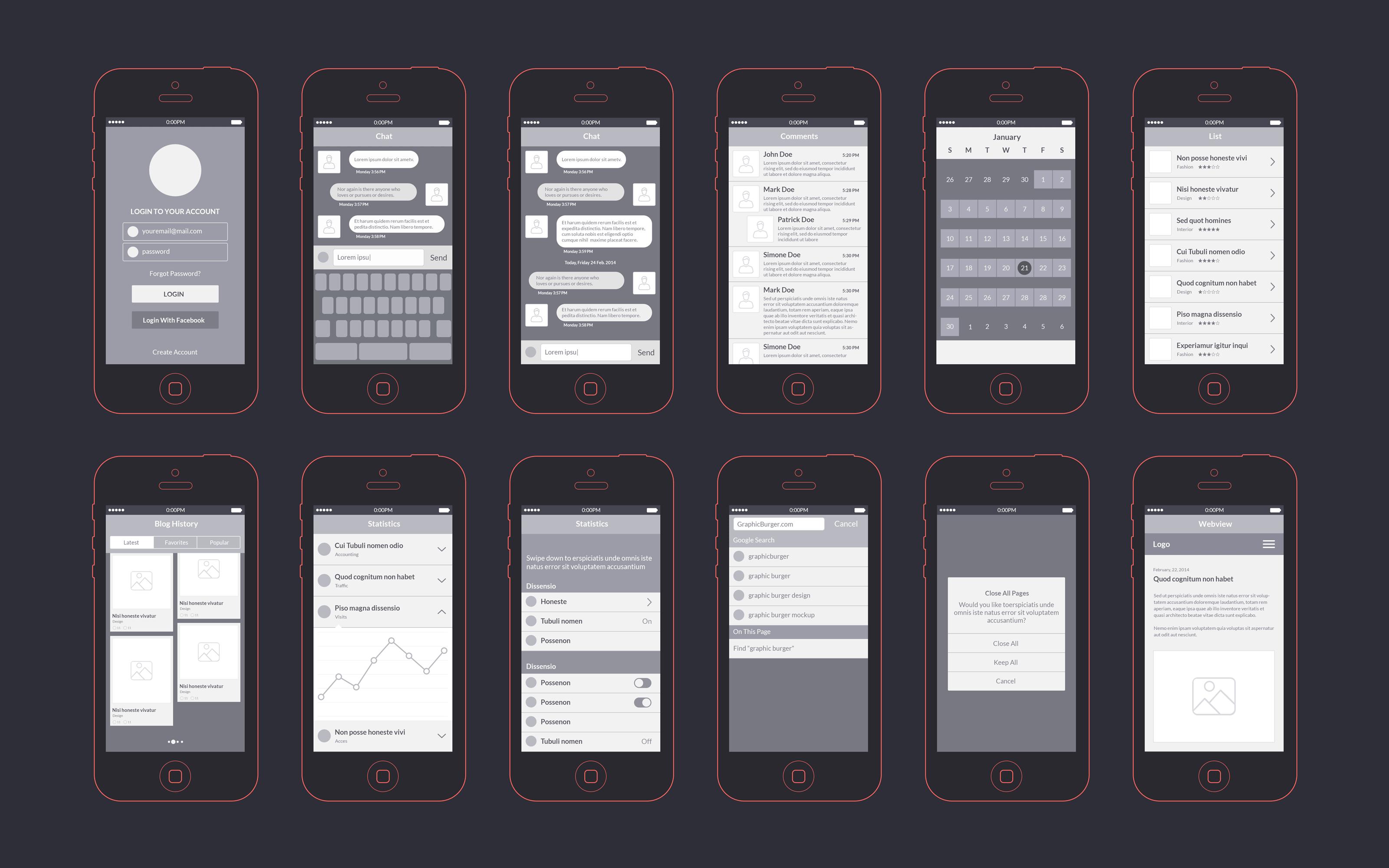 App Wireframes Kit