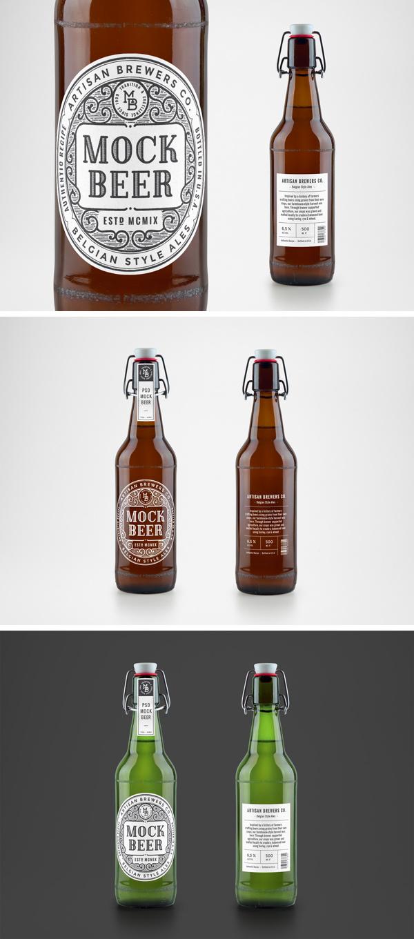 artisan beer bottle mockup graphicburger. Black Bedroom Furniture Sets. Home Design Ideas