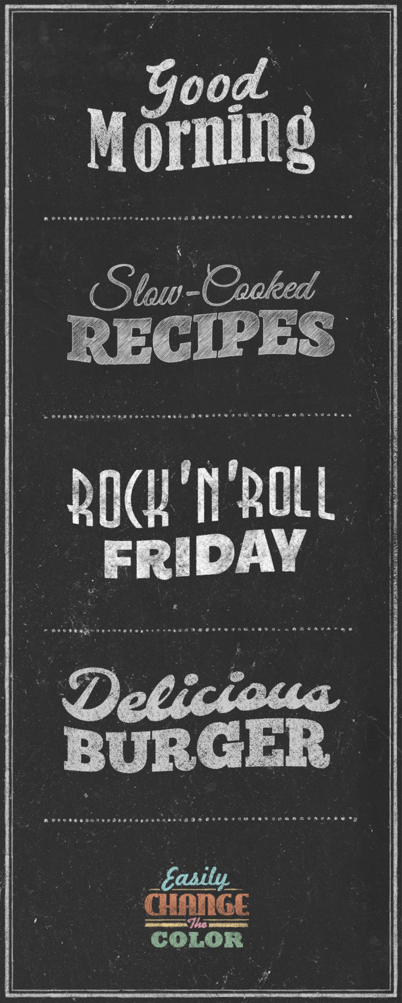 Chalkboard Typography Text Effects Graphicburger