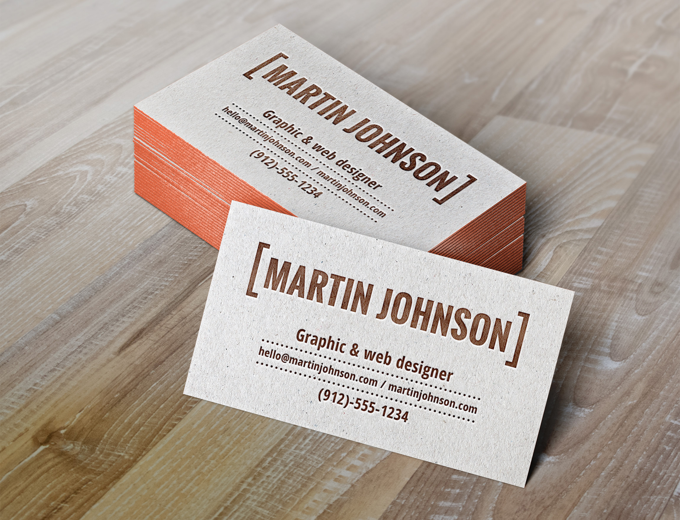 Letterpress Business Cards MockUp | GraphicBurger