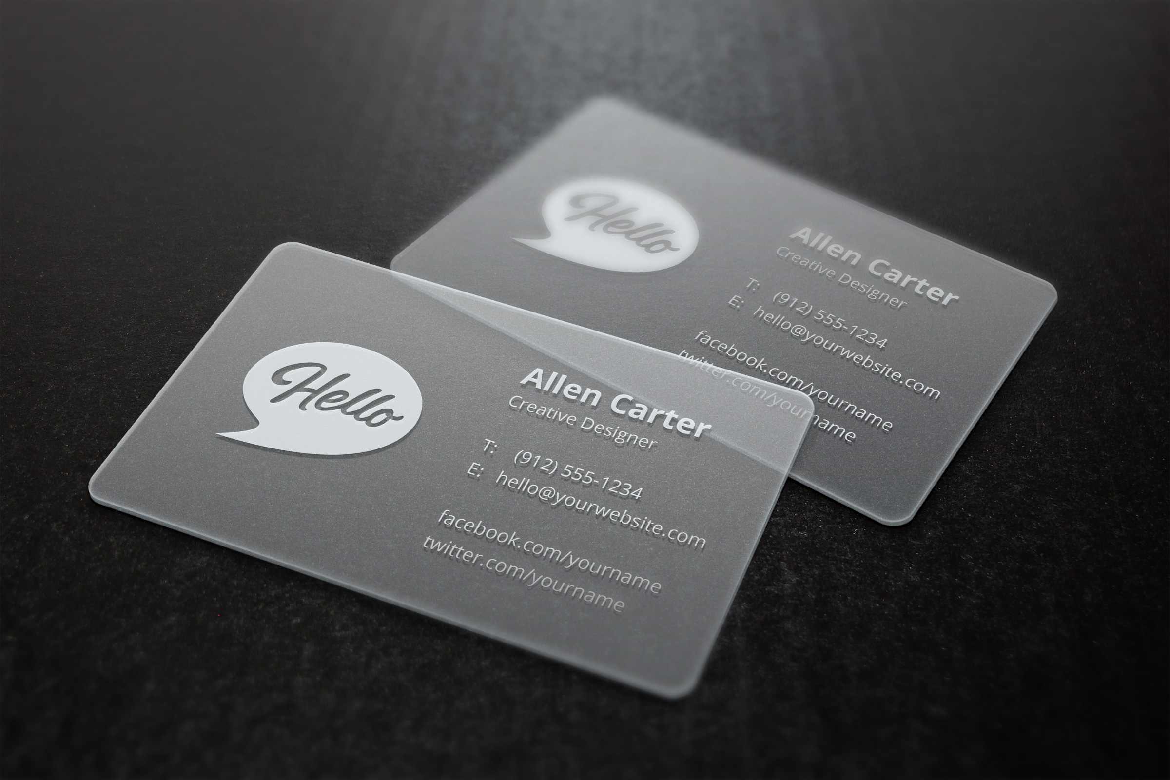 Translucent Business Cards MockUp | GraphicBurger