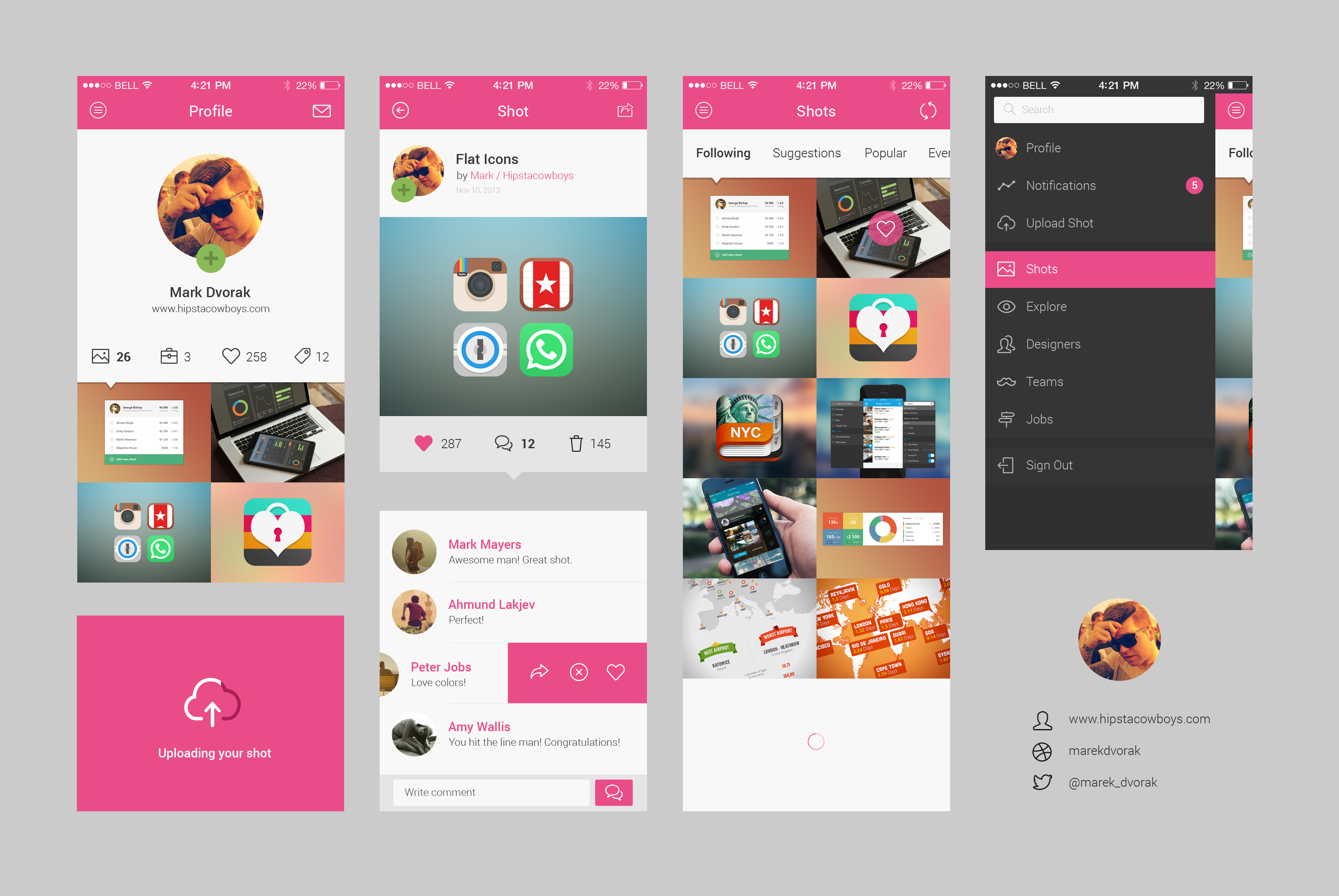 Dribbble App Concept PSD | GraphicBurger