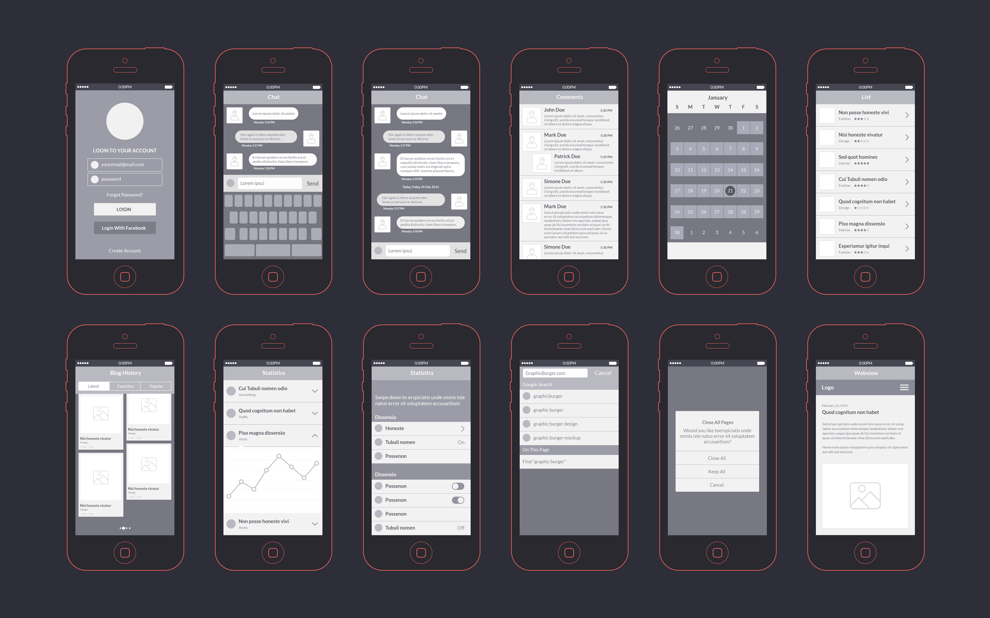 app wireframes kit