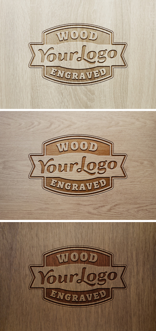 Wood Engraved Logo MockUp #2 | GraphicBurger