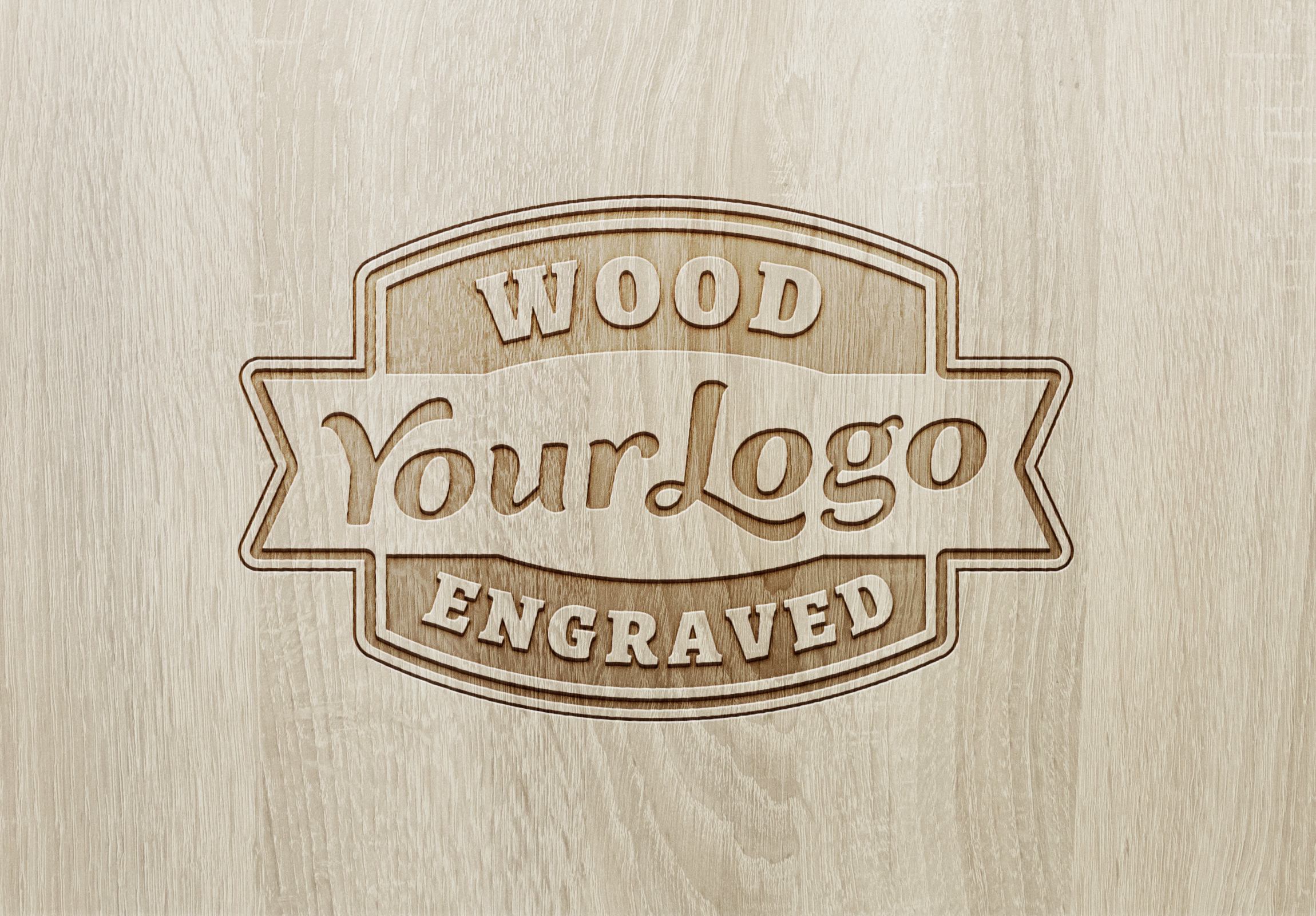 Wood Engraved Logo Mockup 2 Graphicburger