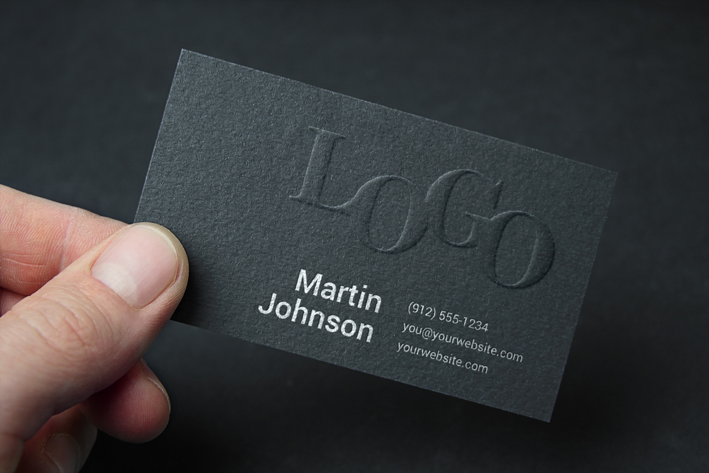 Business card graphicburger embossed business card mockup 2 reheart Image collections