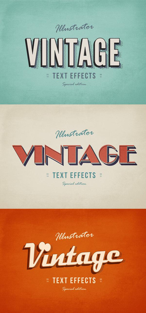 3 Illustrator Vintage Text Effects