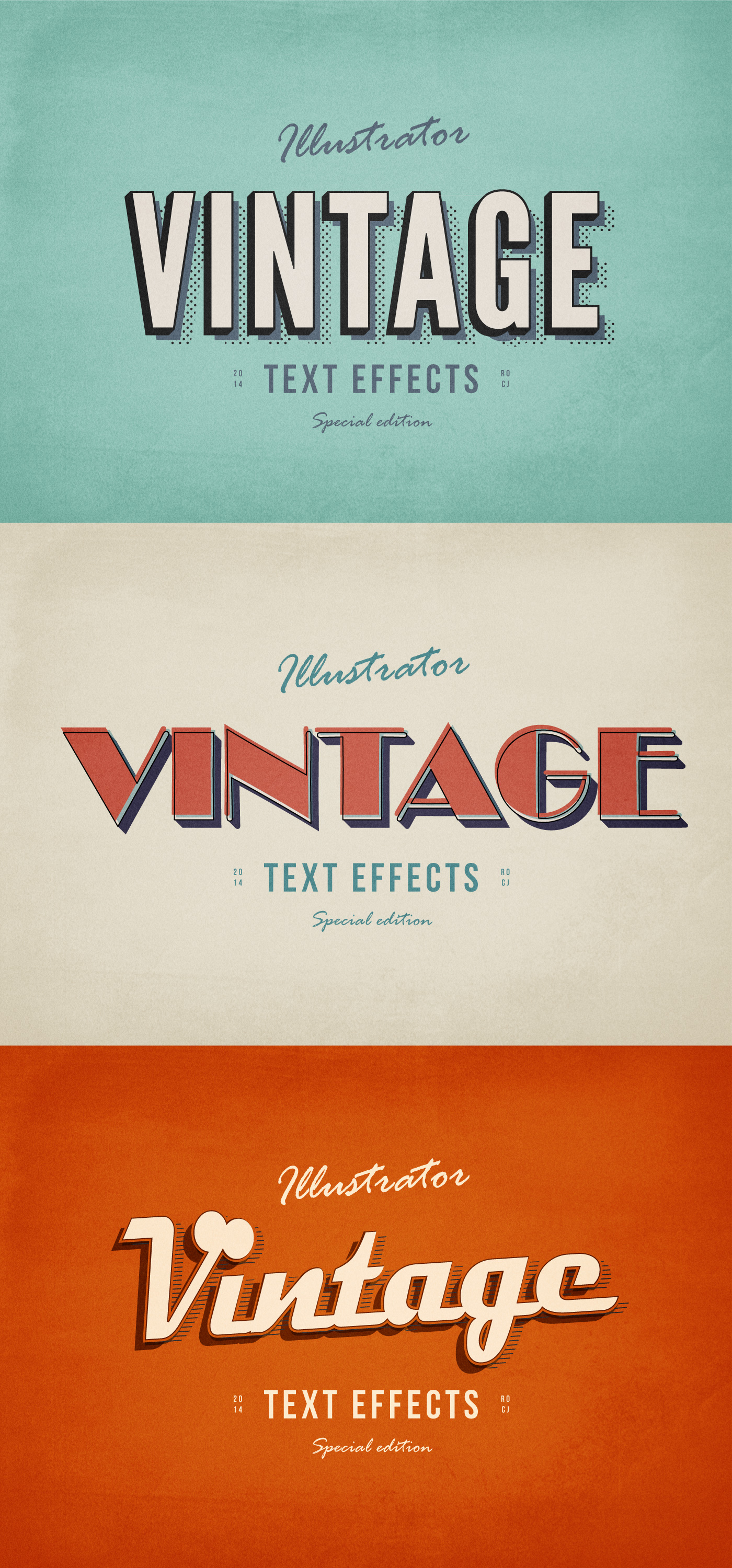 3 Illustrator Vintage Text Effects | GraphicBurger