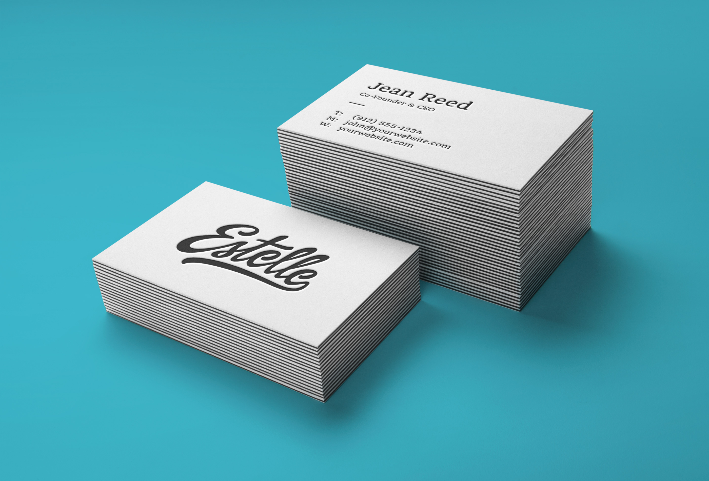 Stack Letterpress Business Cards MockUp | GraphicBurger