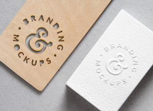 Cutout wood embossed b card mockup graphicburger reheart Image collections