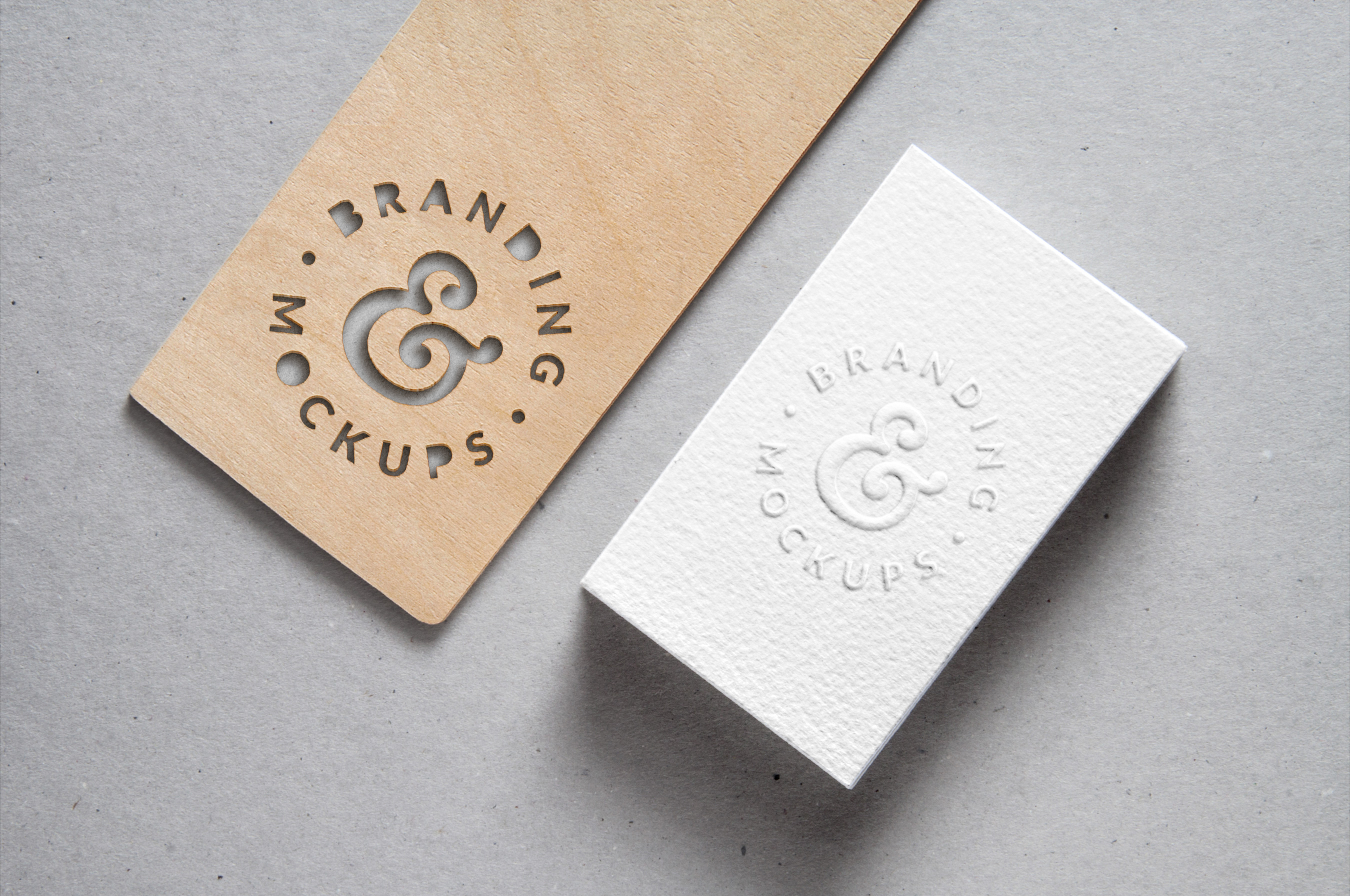 Cutout Wood Embossed B Card MockUp