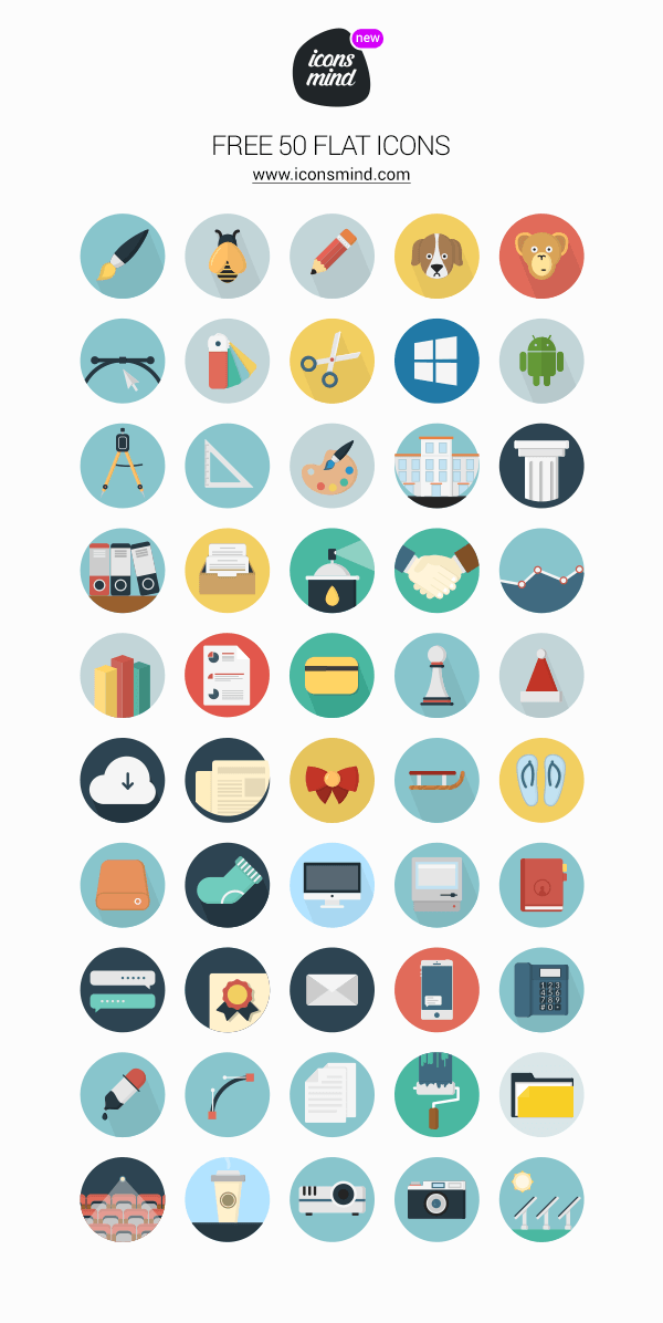 icons mind 50 flat icons graphicburger
