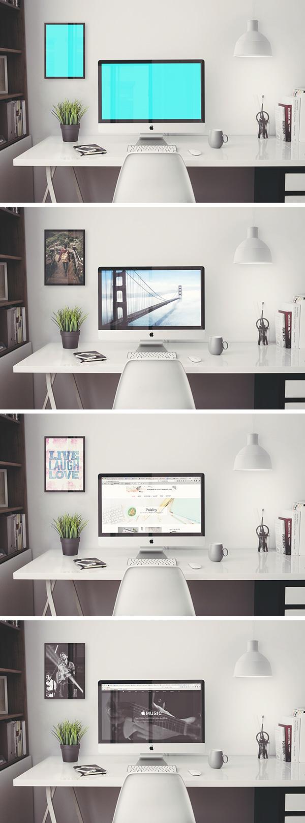 iMac Retina 5k Office MockUp | GraphicBurger