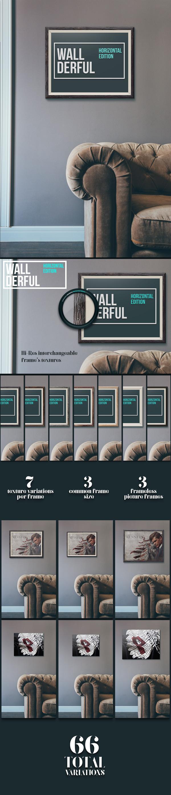 Wallderful: Horizontal Frames MockUps   GraphicBurger