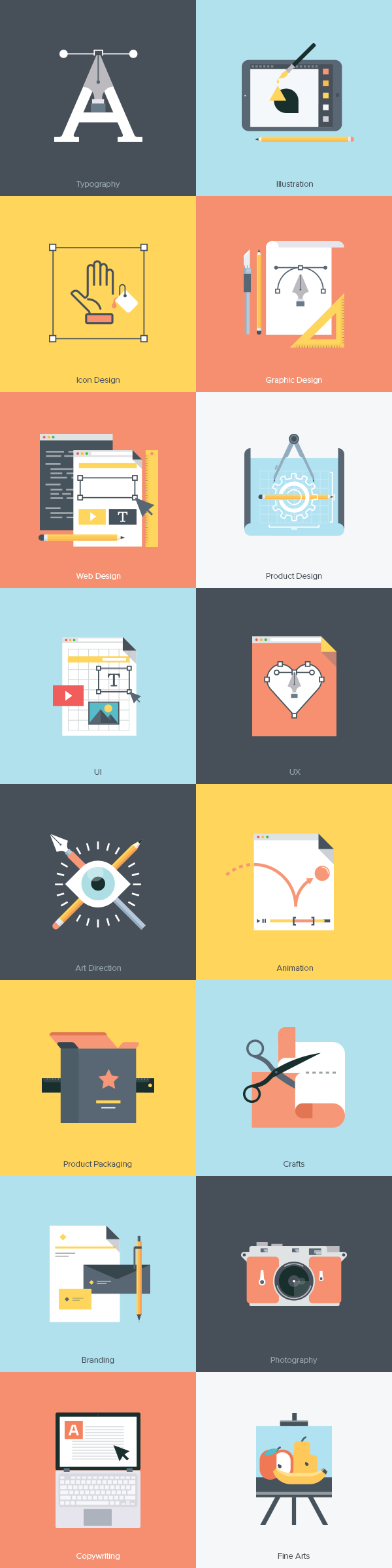 Creative Furniture Icons Set Flat Design Creative Fields Icon Set