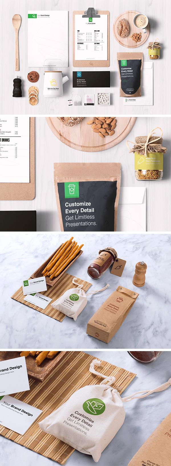 food packaging  u0026 branding mockups
