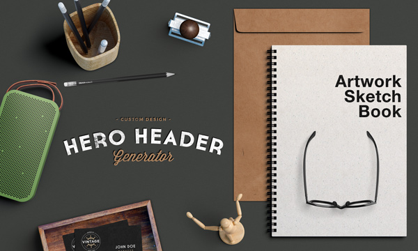 Hero / Header Scene MockUp | GraphicBurger