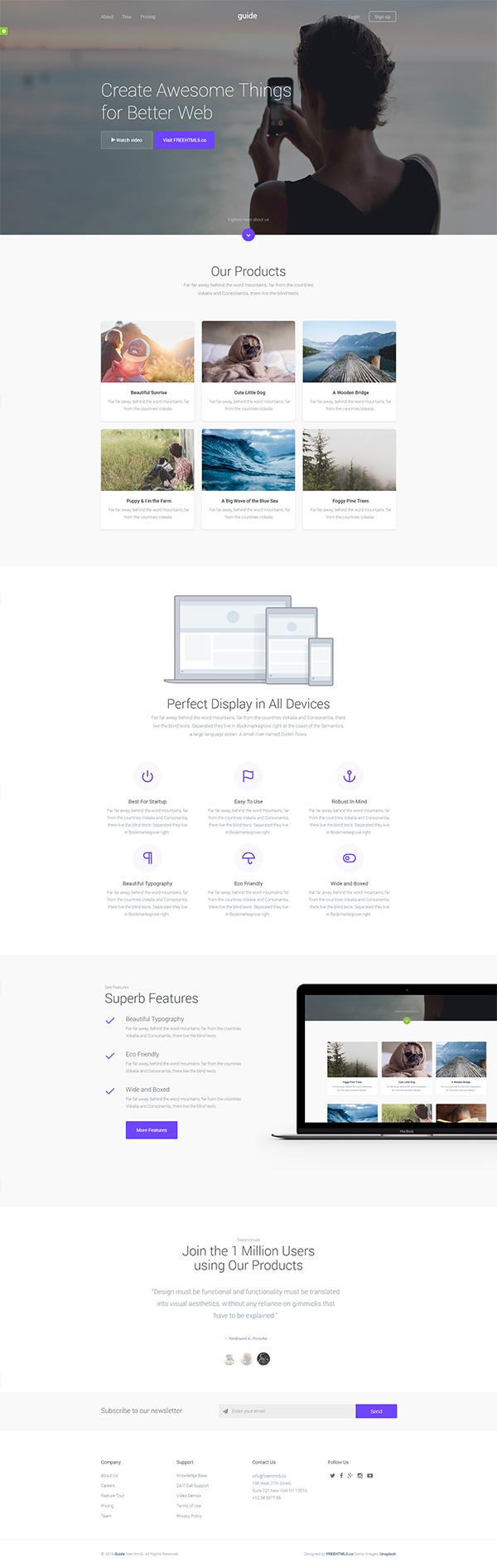 Guide – Free HTML Template | GraphicBurger