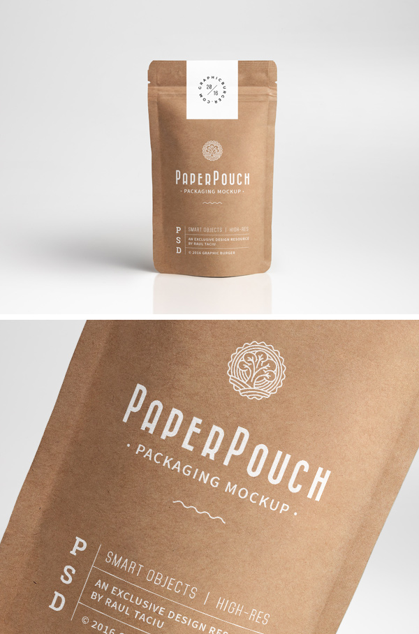 Paper Pouch Packaging Mockup Graphicburger