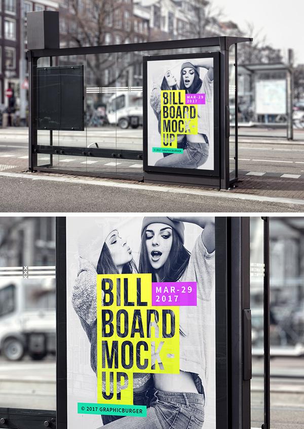bus stop billboard mockup 2 graphicburger