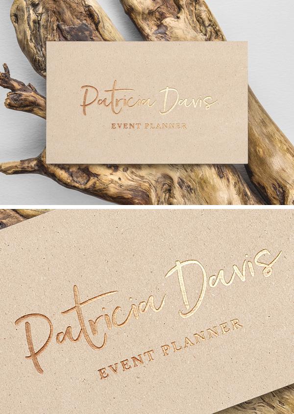 Gold Foil B-Card MockUp | GraphicBurger