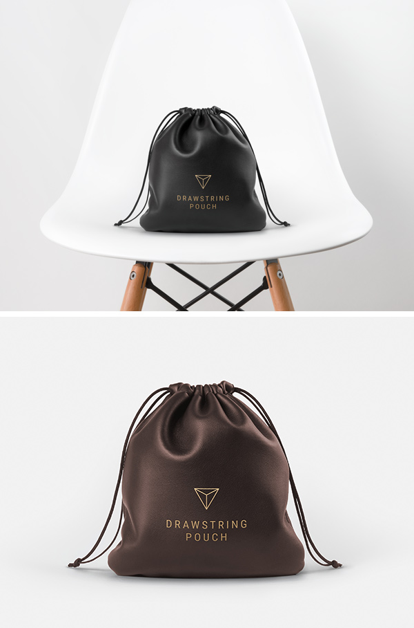 leather drawstring pouch mockup graphicburger